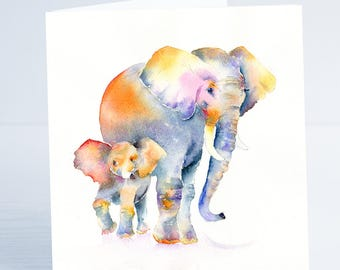 Elephant and baby, Me and my Mum - Greeting Card - Taken from an original Sheila Gill Watercolour Painting.