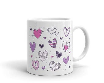 Romantic Heart Mug, Valentine's Day Heart Mug, Coffee Mug