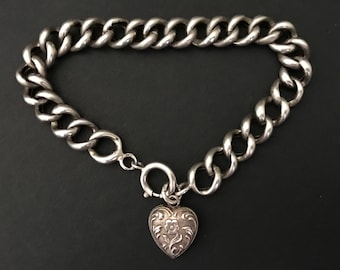 Antique Curb Link Bracelet with Heart Charm