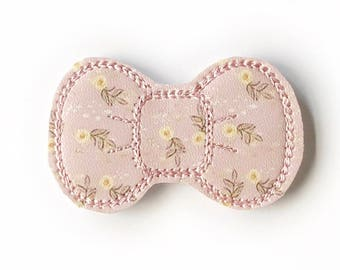 Peach Floral Embroidery Bow Snap Clip - Faux Leather - Snap Clips - 50mm Clips - 2.5 inches - Embroidery Bow - Hair Bows