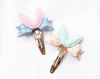 Easter Bunny Ears Glitter Petite Bow Snap Clip - Chunky Glitter - 3D Bow - Snap Clips - 50mm Clips -
