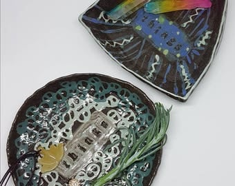 Things trays, ceramic handmade trays, jewellery dish, trinket tray, black clay, gift ideas, quirky design, home studio pottery.