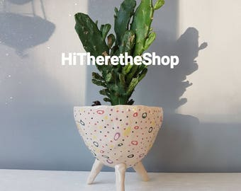 The Spotty Dotty Collection - Ceramic, succulent pot, cactus pot, plant pot, home studio pottery, home decor, office decor, pinch pot.