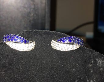 Blue and white sapphire hoop earing
