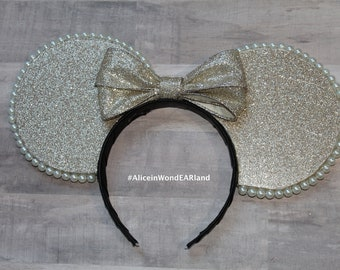 XL Champagne Minnie Mouse Glitter Ears
