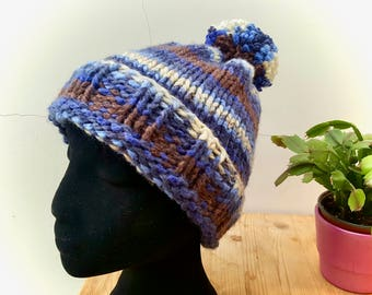 Hand Knitted Bobble Hat with Pom Pom Blue/Brown/Cream