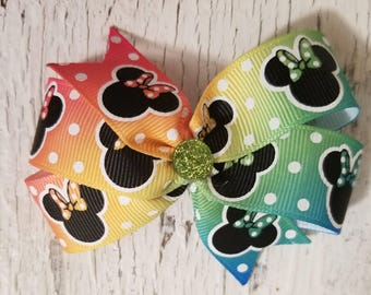 Multi-colored Minnie print Bow on French barrette