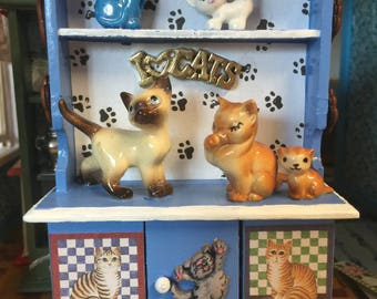 "Dollhouse Scale 1:12 ""I Love Cats"" Themed Cabinet."