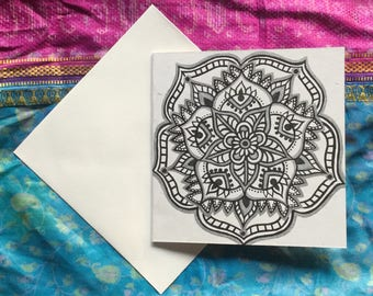 Hand drawn mandala flower illustrated greetings card celebration occasion gift henna art