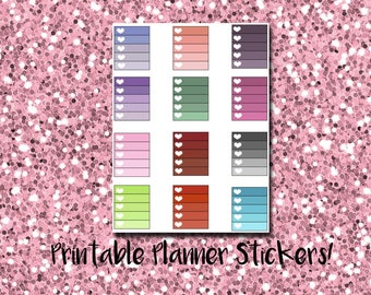 EC Printable Stickers: Cool Toned Heart Ombre Checklist Full Boxes