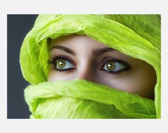 Beauty hair Salon Green Eyes Makeup Poster or Canvas