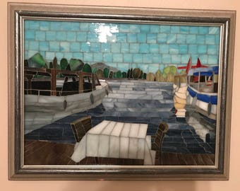 Stained Glass Mosaic Work   Boats at River