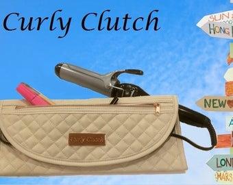 Heat Resistant/Curling Travel Bag/Flat Iron Travel Bag/Heat Resistant Tote for Curling Iron/Quilted Travel Bag for Curling Iron/Straightener