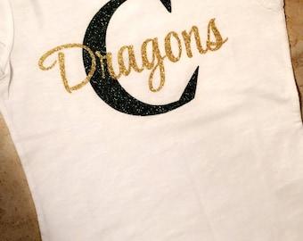 Custom glitter school spirit shirts