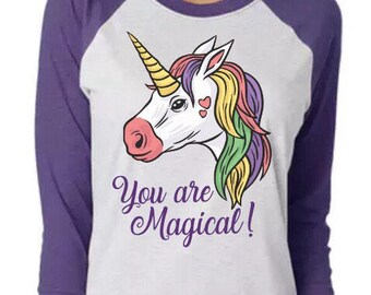 You Are Magical Unicorn baseball Raglan Tee
