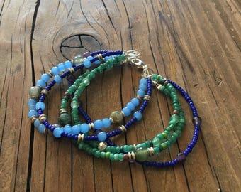 Boho multistrand beaded bracelet