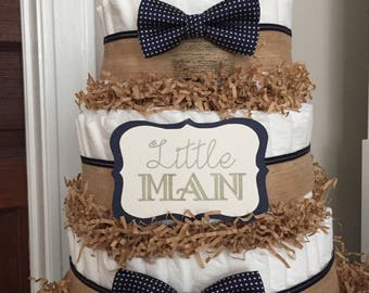 3 Tiered Bow Tie Diaper Cake