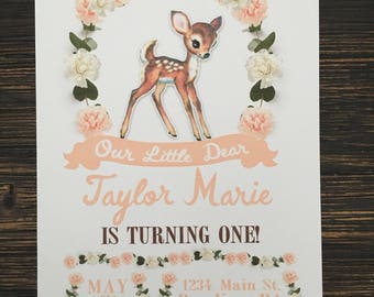 Our little dear is turning one invitation