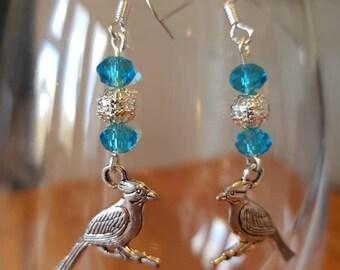 Blue Glass Bead Bird Drop Earrings