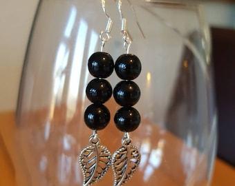 Black Bead Leaf Earrings