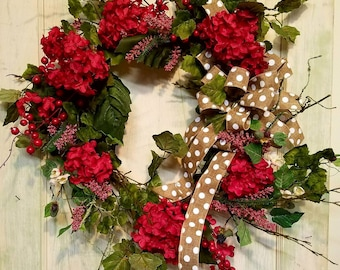 Hydrangea wreath,  hydrangea wreaths, farmhouse wreath,polka dot wreath,red flower wreath,year round wreath,wreath front door,berry wreath