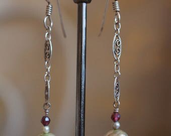 Detailed garnet and pearl earrings