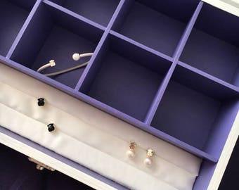 Wooden Jewelry Cabinet Earring Box Organizer Jewelry Holder Treasure Chest Shabby Chic White & Violet Jewelry Storage Jewelry Keepsake