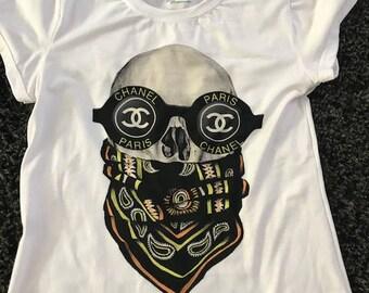 Skull with bandana CC fashion t-shirt