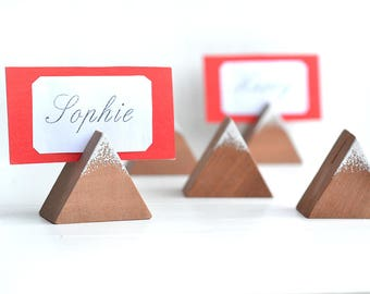 Wood table number holder, Rustic wedding decor, Guest card holders, Woodland wedding centerpieces, Wood place card stand, Name tag holder