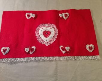 Vintage handmade Valentine table runner and placemats