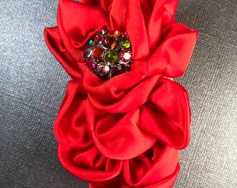 Red brooch, Lapel brooch, Dress accessory, Hair Accessory,