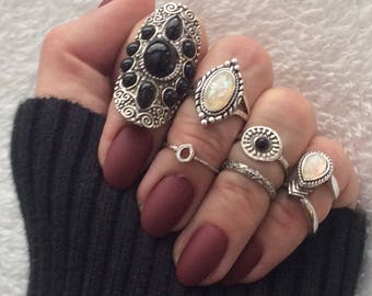 The Countess 513 BOHO 7 pc Unique Silver Stacking Ring Set with Large Half Finger Ring