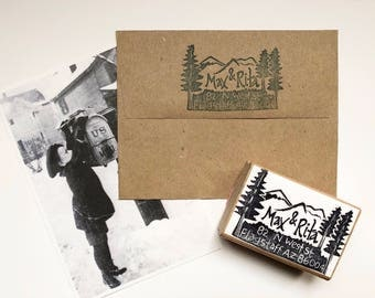 Mountain town customized hand carved return address rubber stamp