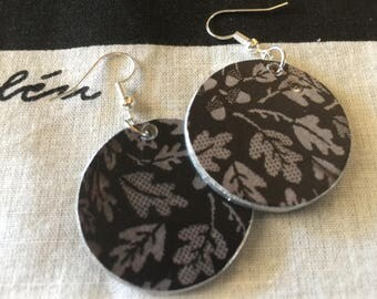 Upcycled Gudrun Sjoden Image  Earrings - Jardim in silver and black