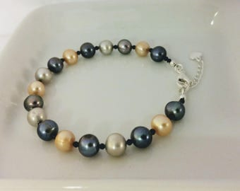 Multicolor Pearl Bracelet, Pearl Bracelet, Freshwater Pearl Bracelet, Pearl and Spinel Stone Bracelet, Pearl Bracelet for Mom, Gift for Mom