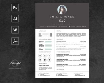 Dark Gray Resume Template / CV template / FREE Cover letter