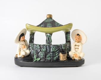 Silvestri Brothers TV Lamp, Asian Wishing Well, Chalkware, Mid-Century Modern, Mid-Mod, Kitsch,