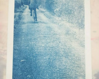 Cyclist on Green Lane A3 Print