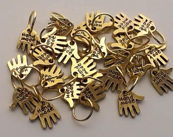 """25 """"Hand Made"""" double sided Charms with Jump Rings approximately 1/2"""" in length & 1/2"""" in width"""
