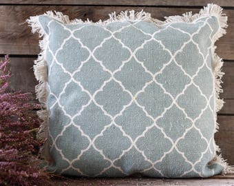 """Handmade pillow 18""""x 18"""" + insert. French fabric. French linens. Vintage fabric. Vintage linens. French cushion. Boho green pillow. Tapestry"""