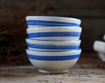 """French set of 4 stripes blue bowls """"Café au lait"""". French bowls blue decor. Porcelain bowls. French 4 bowls. Antique bowls. Vintage bowls."""