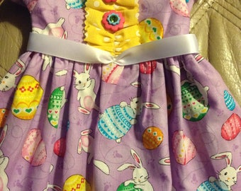 "18""Doll Dress Easter Print Short Sleeve Handmade USA Cotton Blend Smoke-free Lavendar Bunny Print Yellow White Polka Dot Satin Ribbon"
