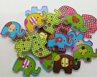 10 Elephant Wooden Buttons-Animal Buttons-Jungle Buttons-Cute Buttons-Elephants-Colorful Buttons-Green Buttons-Children Buttons-Blue Buttons