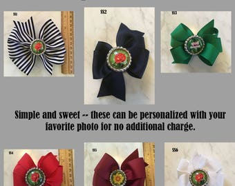 Custom Hair Bow, Choose 1 of 6 Personalized Hair Bows, Photo Barrette, Primary Colors Hair Bow, Flower Hair Bow, Custom Hair Accessory Bow