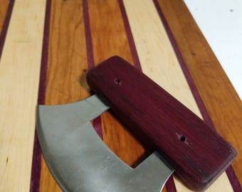 Alaskan Ulu Knife - Handmade purple heart handles -perfect for any kitchen