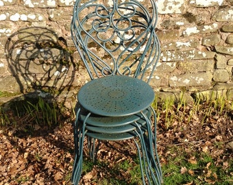 FRENCH GARDEN CHAIRS, Vintage Set 4, Mid Century