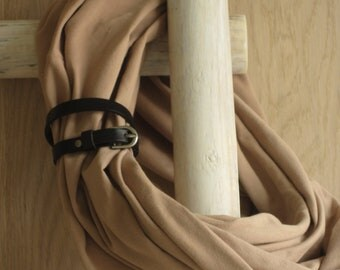 Cotton infinity scarf  with leather cuff - Rachel