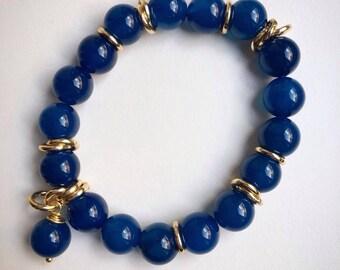 Bracelet Jewel Blue Agate Woman, customizable, blue pearls