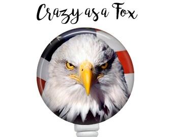 American Eagle Retractable Badge Holder, Patriotic Badge Reel, Lanyard, Stethoscope ID Tag, Nurse, RN, Doctor, Teacher Gift