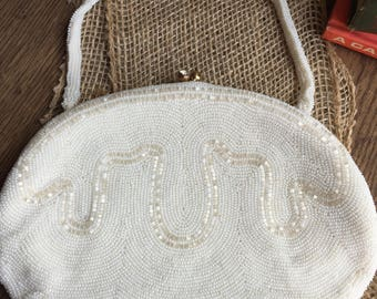 Vintage White Beaded/Sequin Evening Bag